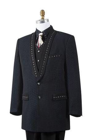 Canto Mens Black 4 Piece Sharkskin Entertainer Suit 8386 - click to enlarge