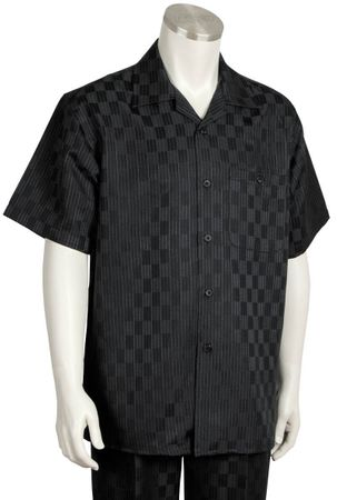 Canto Mens Black Checker Design Short Sleeve Walking Suit 6104