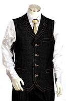 Canto Mens Dark Blue Denim High Fashion Vest Outfit 9027