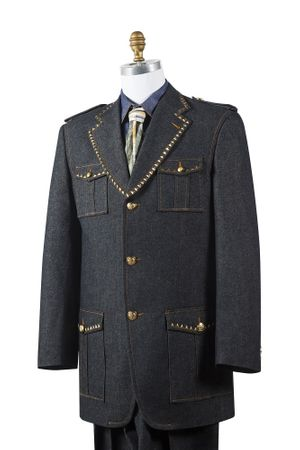 Canto Mens Black Denim Military Style Jean Fashion Suit 8389 - click to enlarge