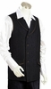 Canto Mens Black Double Breasted Denim Long Vest Outfit 9024
