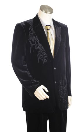 Canto Mens Black Embroidered Velvet Fashion Suit 8327