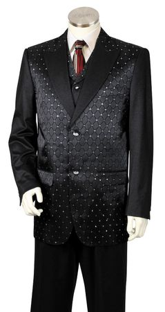 Canto Mens Black Diamond Pattern Vested Exotic Fashion Suit 8368
