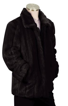 Canto Mens Black Faux Fur Coat 3/4 Length F018