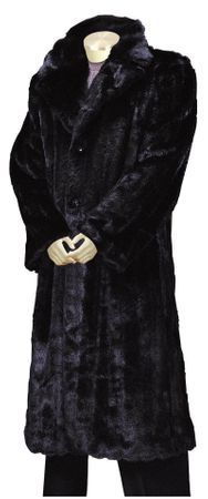 Canto Mens Black Faux Fur Overcoat Full Length F010 - click to enlarge