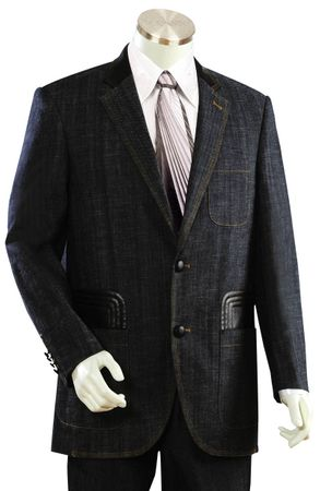 Canto Mens Black Leather Trim Denim High Fashion Suit 8308 - click to enlarge