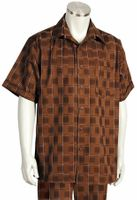 Canto Leisure Suit Mens Brown Checker Short Sleeve Walking Set 694 Size 3XLarge/45 Waist