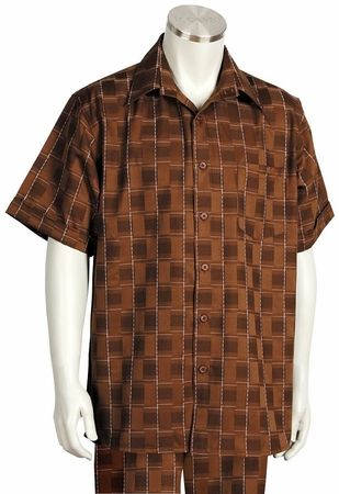 Canto Leisure Suit Mens Brown Checker Short Sleeve Walking Set 694 Size 3XLarge/45 Waist Final Sale