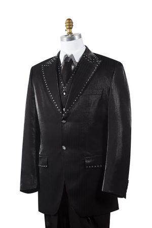 Canto Mens Black Sharkskin Rhinestone 3 Pc. Entertainer Suit 8379