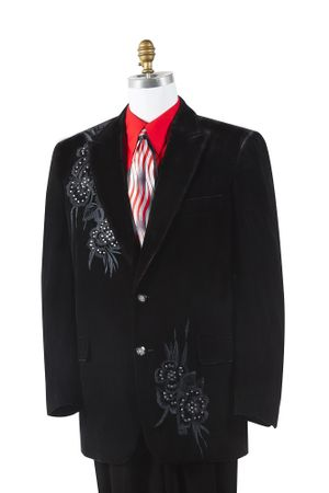 Canto Mens Black Velvet Rhinestone Entertainer Suit 8382 - click to enlarge