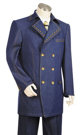 Canto Mens Blue Diamond Studded Denim High Fashion Suit 8373