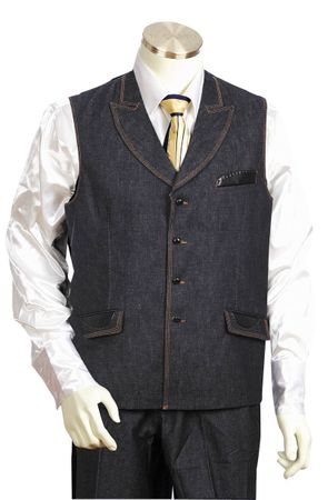 Canto Mens Blue Leather Trim Denim Vest Outfit 9026 - click to enlarge