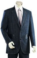 Canto Mens Blue Leather Trim Denim High Fashion Suit 8308