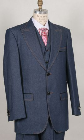 Canto Mens Blue Wide Lapel 3 Piece Jean Fashion Suit 8376 - click to enlarge