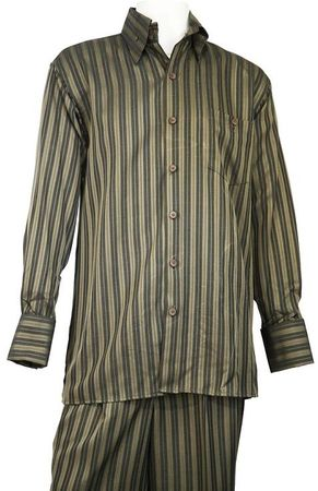 Canto Mens Bold Shadow Stripe Long Sleeve Outfit 880