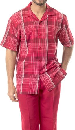 Mens Dress Outfit by Montique Red Plaid Casual Set 1741 - click to enlarge