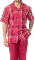 Mens Dress Outfit by Montique Red Plaid Casual Set 1741