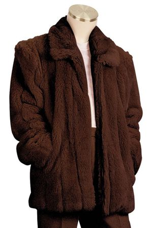 Canto Mens Brown Faux Fur Coat 3/4 Length F018