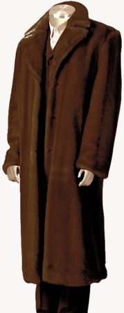 Canto Mens Brown Faux Fur Overcoat Full Length F010