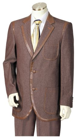 Canto Mens Brown Leather Trim Denim High Fashion Suit 8355