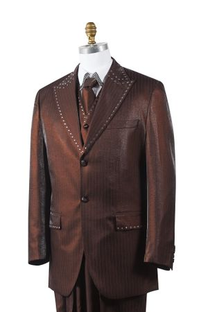 Canto Mens Brown Sharkskin Rhinestone 3 Pc. Entertainer Suit 8379