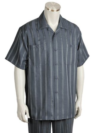 Canto Mens Charcoal Chalk Stripe Short Sleeve Walking Suits 6101 - click to enlarge