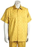Canto Mens Gold Tonal Checker Short Sleeve Casual Leisure Walking Suit 6106