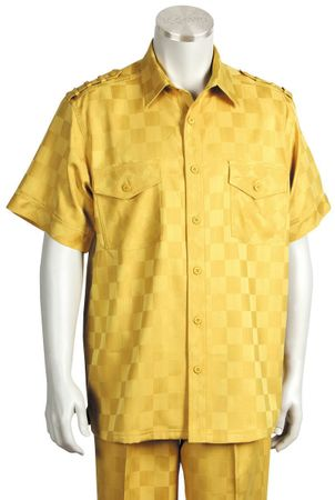 Canto Mens Gold Tonal Checker Short Sleeve Casual Leisure Walking Suit 6106 - click to enlarge