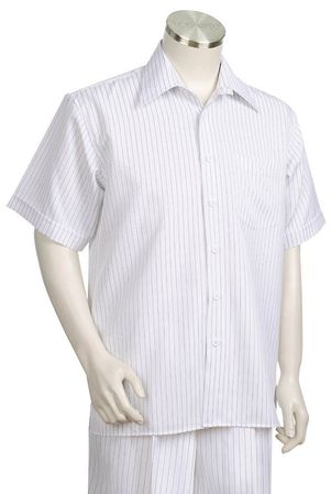Canto White Pinstripe Short Sleeve Walking Suits 685 Size 3XLarge/ 45 Waist Final Sale