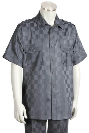 Canto Mens Gray Tonal Checker Short Sleeve Casual Leisure Walking Suit 6106 - click to enlarge