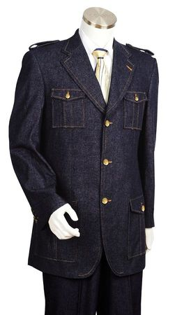 Canto Mens Military Style Denim High Fashion Suit 8372