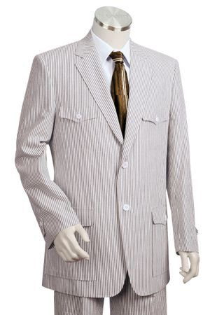 Canto Mens Military Style Seersucker Suits 8345