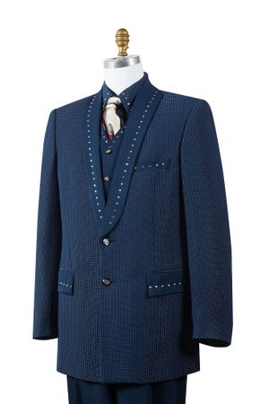 Canto Mens Navy 4 Piece Sharkskin Entertainer Suit 8386