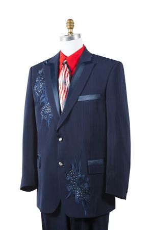 Canto Mens Navy Poly Woven Rhinestone Entertainer Suit 8381