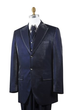 Canto Mens Navy Sharkskin Rhinestone 3 Pc. Entertainer Suit 8379