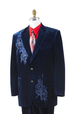 Canto Mens Navy Velvet Rhinestone Entertainer Suit 8382 - click to enlarge
