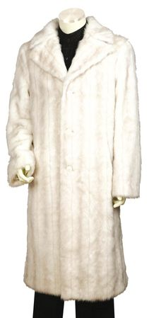 Canto Mens Off White Faux Fur Overcoat Full Length F010