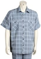 Canto Mens Blue Plaid Short Sleeve Casual Leisure Walking Suit 6105