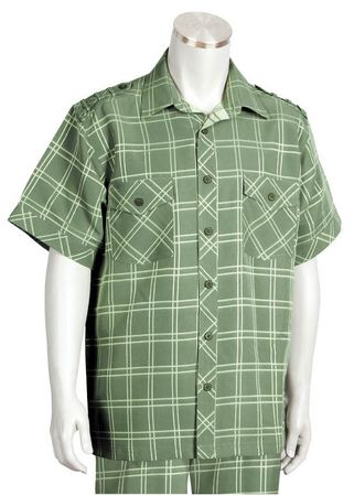 Canto Mens Olive Plaid Short Sleeve Casual Walking Suit 6105