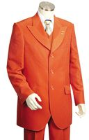 Canto Mens Orange Wide Lapel 3 Piece Fancy Style Suit 8306
