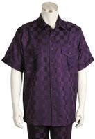 Canto Mens Purple Tonal Checker Short Sleeve Casual Leisure Walking Suit 6106