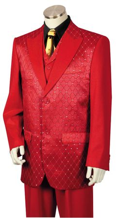 Canto Mens Red Diamond Pattern Entertainer Fashion Suit 8368 - click to enlarge
