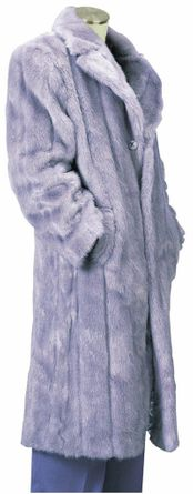 Canto Mens Silver Faux Fur Overcoat Full Length F010