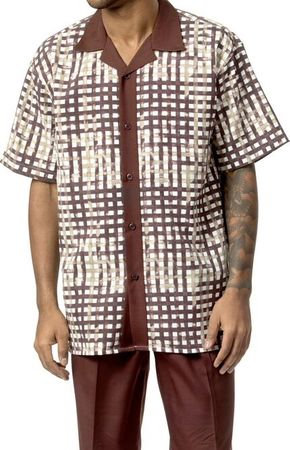 Mens Dress Outfits by Montique Brown Stripe Plaid Set 1730 - click to enlarge