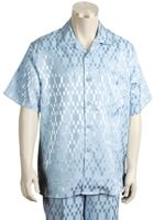 Canto Mens Walking Sets Shiny Square Design Short Sleeve 688