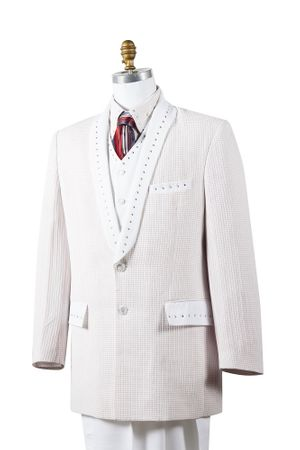 Canto Mens White 4 Piece Entertainer Suit 8386 - click to enlarge