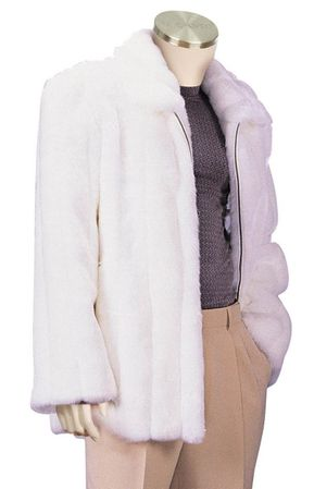 Canto Mens White Faux Fur Coat 3/4 Length F018