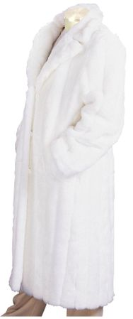 Canto Mens White Faux Fur Overcoat Full Length F010
