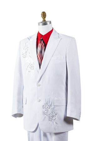 Canto Mens White Poly Woven Rhinestone Entertainer Suit 8381