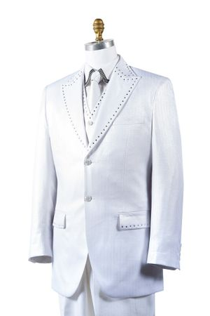 Canto Mens White Sharkskin Rhinestone 3 Pc. Entertainer Suit 8379